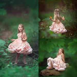 Cute Pink 3D floreale appliquéd Flower Girl abiti occasione speciale per i matrimoni bambini di spettacolo degli abiti di lunghezza del ginocchio del Tiered Comunione Dress