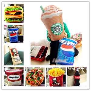 Simulated food stuffed dolls toys French Fries Cola Icecream Hamburger Pizza Fast food CUSHION PILLOWS Cute Funny Festivals gifts decoration