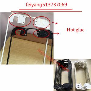 iPhone 4 4S için 10pcs Kaliteli Sıcak tutkal Siyah / Beyaz Ön Çerçeve 6 6s 7 artı LCD Orta Çerçeve Konut Parçaları Krom Ekran Holde 5c 5 5s