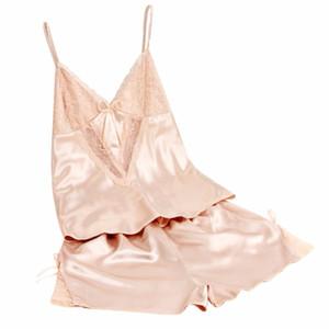 여성 섹시한 여름 잠옷 실크 Pijamas 하네스 잠옷 미니 밴 슬리퍼 딥 V 민소매 멜빵 멜빵 세트