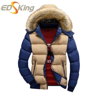 Wholesale- High Quality Down Jacket Man Red Khaki Warm Turn Down Collar Solid Slim Fit Parka Winter Hooded Coat Man Casual Down Jacket
