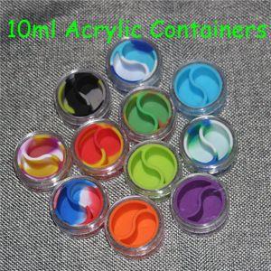 10 мл Акриловая банка Силиконовая банка No Stick Jar Контейнер для масла Dab Wax BHO Crumble Goo Мед Воск из нержавеющей стали / масло Dabber Tool