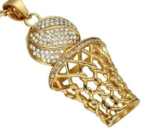 MCW Glacé Bling Full Strass Basketball Hommes Pendentifs Colliers Or Couleur Acier Inoxydable Sport Collier Bijoux