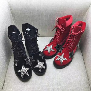 2018 Fashion Cat walk Counter quality silk stain black +wine + blue With diamonds round toe Lace-up hight ankle boots