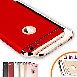 Custodia rigida in metallo placcato oro reale di lusso per iPhone 7 6 6S Plus 5s SE 3 in 1 cover posteriore per iPhone 6 7 6S Capa Coque Funda