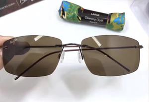 jim Frégate Rimless Gloss lunettes de soleil brun foncé Lunettes de soleil mode Sunglass hommes nouveaux avec la boîte