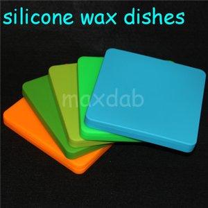Kundenspezifische Behälter des quadratischen flachen Silikons der hohen Qualität für Wachsneuheits-Pizza-Konzentrat-Glas heißes populäres Silikonwachsglas