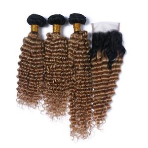 Derin Dalga Virgin Hint Bal Sarışın İnsan Saç Kapatma İki 4x4 Dantel Kapatma ile Ton 1B / 27 Açık Kahverengi Ombre 3Bundles ile örgüleri