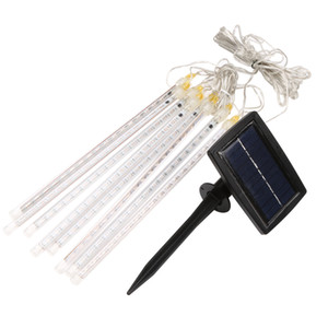 Wholesale- 30cm 144 LED solar Meteor Shower Rain Tubes stalactute Led Light Lamp Christmas Romantic for Valentine Wedding Decoration MFBS