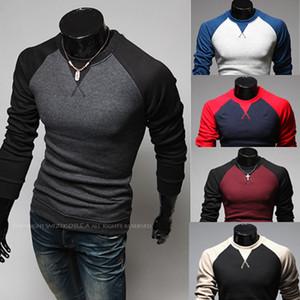 İki Renk T Gömlek Erkekler Raglan Kollu Ücretsiz Kargo Panelli Eşleşen Renk Uzun Kollu O Boyun Kazak Kısa Moda Erkek Casual T Gömlek