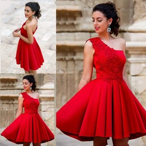 Short New Arrival Satin A-Line One Shoulder Short   Mini Satin Homecoming Prom cocktail Dress with Flowers