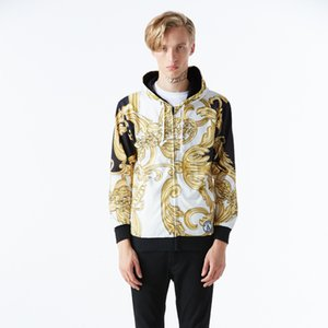 Wholesale free shipping Mens Hoodies Long Sleeve Hooded Zipper Printed 3D Gold Vine Flower Sweatshirt Men Casual Hip Hop Plus Size Men Cloth