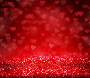 Corações vermelhos Fotografia Fotografia Romantic Wedding Party Espumante Polka Dots Fundos Dia dos Namorados Glitter Photo Backdrops 10x10ft