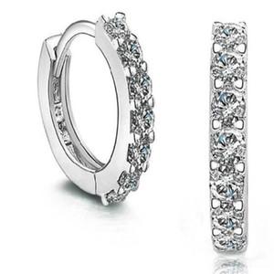디자인 925 스털링 실버 도금 작은 귀 스터드 DHL 스위스 CZ 다이아몬드 후프 귀걸이 아름다운 웨딩 약혼 보석 크리스마스 선물