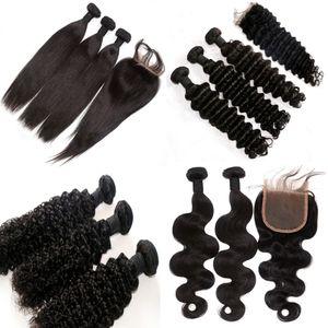 Tessuto brasiliano dei capelli Compra 3pcs Capelli Ottieni una chiusura in pizzo libero Non trasformati peruviana indiana malese estensione dei capelli umani mongolo