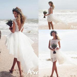 Simple Salut-Lo Summer Beach Dentelle Robes De Mariée Courtes Dos Nu Col Bateau Sans Manches Volants En Mousseline de Soie 2017 Bohême Robes De Mariée