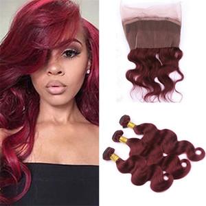 브라질 바디 웨이브 Burgundy Hair Bundles with 360 Lace Frontal Closure Color # 99j Wine Red Pre는 번들과 함께 360 레이스 프론트를 뽑았습니다.