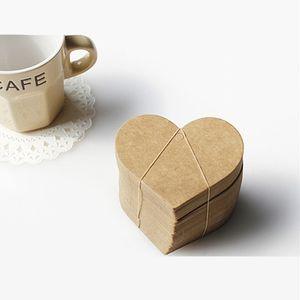 Gros-100 Pcs Emballage de boulangerie en forme de coeur Étiquettes en papier Kraft DIY Artisanat Accessoires de cuisson Étiquette de mariage Marque-cadeau vide