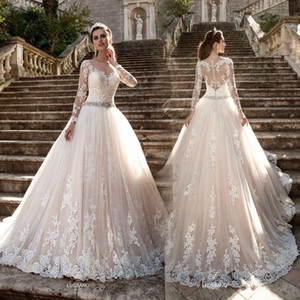 Vestido de novia 2017 nova mangas compridas vestidos de casamento vestidos de baile sheer jóia apliques de renda com faixa vestidos longos para casamentos do país