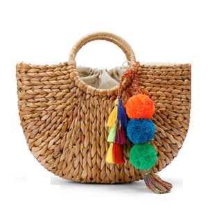 Пляжная сумка Соломенная корзина сумки Сумка ведро большие большие летние сумки с кистями Пом Пом женщины природные сумки 2017 новый высокое качество C95