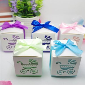 리본 중공 아기 바구니 사탕 상자 아기 유모차 아기 샤워 호의 선물 상자 웨딩 용품 사탕 초콜릿 상자
