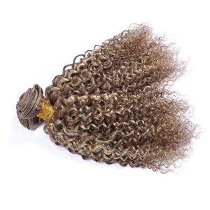 Mix Piano Color Hair Bundles 3 piezas Midium Brown y Blonde Two Tone Hair Trama # 8 # 613 Extensiones de cabello rizado profundo
