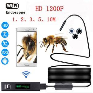HD 1200 P câmera endoscópio wi-fi com Android IOS Endoscopio 8 LED 8mm À Prova D 'Água Inspeção Endoscópio Tubo Da Câmera 1-10 M cabo