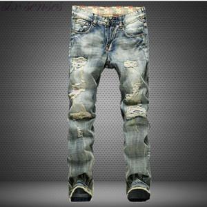 Big Size European Style Men Jeans Holes Frazzle Jeans Mens-beiläufige Freizeit Denim lange Hosen Hellblau Größe 28-42