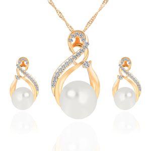Nueva Aleación de Perla Diamantes Collares Pendientes Conjunto de Joyas de Oro Blanco 10 unids Tamaño 21 * 11mm 29 * 17mm Peso 13g