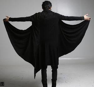 2017 yeni serin serseri gotik tişörtleri erkekler uzun Cadılar Bayramı kostümleri Cape pelerin uzun ceket Hırka ceket gevşek siyah renk sleeve