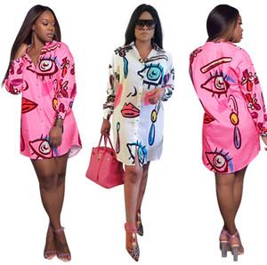 Moda Casual Vestidos Mulheres Elegante Camisa Impresso Vestidos Soltos Mini Vestir Plus Size Vestuário