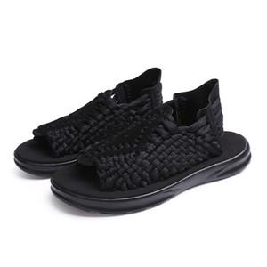 2017 envío libre sandalias de verano de cuero hecho a mano de tejer pareja ocio playa zapatos sandalias de los hombres fábrica directa