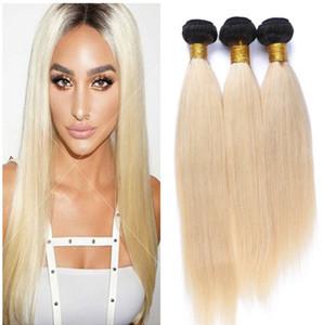 1B 613 Blonde Ombre Human Hair Wefts 3Pcs Peruvian Virgin Hair Bundles Deals Silky Straight Dark Roots Blonde Ombre Human Hair Extensions
