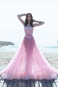 Said Mhamad 2017 Pink Lace Strapless flores vestidos de baile Flores árabes vestidos de noche vestidos de celebridades baratos