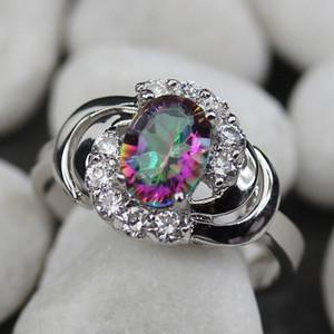 إعداد مدي الروديوم مطلي عصابة الأبيض و rainbow زركون R781 الحجم # 6 7 8 9 رومانسية نمط المرأة مجوهرات هدية الهذيان استعراض