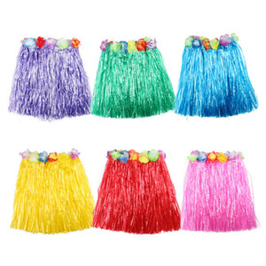 1 PCS Fibres En Plastique Enfant Herbe Jupes Hula Jupe Hawaiian costumes 40 CM Fille Dress Up Fêtes Fournitures En Gros