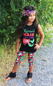Coton chaud 3PCS fille Toddler Enfants Bébé Filles T-shirt + Pantalons + Bandeaux Tenues sirène cheveux ne se soucient pas des mots drôles imprimés Set Vêtements 1-6Y