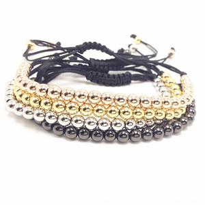 Trendy Handmade Brand Men Bracelet Macrame Jewelry 4mm Copper Beads Braided Strand Woven Charm Bracelets & Bangles for Men Women