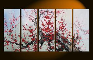 Emoldurado Enorme 5 Painel de Alta Qualidade pintados à mão Abstrata Moderna flor de ameixa Asiática Home Decor Wall Art Pintura A Óleo Sobre Tela Multi tamanhos 502