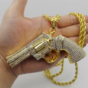 Hip hop Iced Out Golden muy grande tamaño pistola colgante collar cadena de la cuerda para hombres mujeres alta calidad