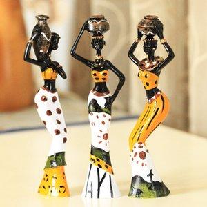3 African девушки домашнего декора смола фигурка народного искусства украшения Нового дом гостиная украшения Crafts любовь Африка статуэтка