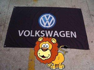 bandiera della squadra da corsa nera volkswagen, bandiera nera volkswagen, bandiera 90 * 150cm Polyster flagking marchio 100% poliestere 90 * 150cm