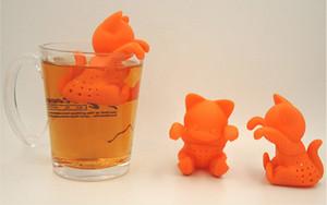 Cojín de té de dibujos animados nuevo gatito Insípido de té de gato lindo de silicona Creativo kit de té de silicona naranja encantador