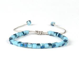Nuevo diseño de moda de joyería de verano venta al por mayor colores de la mezcla 6 mm de cristal de jade cuentas cuadradas Macrame barato pulseras