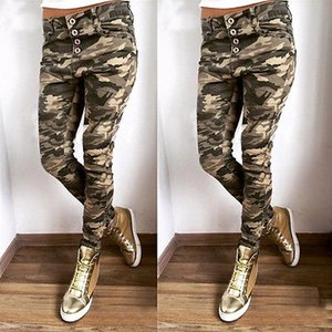 Venta al por mayor- Pantalones de caramelo de las mujeres de la moda Pantalones de lápiz Pantalones de camuflaje ocasionales Estiramiento Flaco Leggings Mujeres Slim Ladies Jean Pantalones