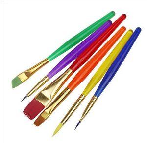 Al por mayor-BornIsKing 6pcs colorido Fondant Cake Brush que adorna la herramienta de la pintura Promoción Icing Set Dusting Pastry Cooking Tool