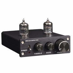 Freeshipping D2 HIFI Tube Preamp 6J1 Válvula Preamplificador de Audio Dual Channel Treble Bass con Adaptador de Potencia Silver Black Hot Sale