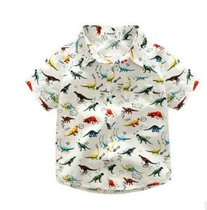 Boys shirt fashion kids cute dinosaur printed tops children cartoon printed short sleeve all match shirt 2017 kids summer clothing T3046