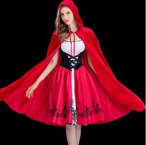 Halloween New Fashion Women Little Red Riding Hood vêtements adulte Cosplay Dress Party Outfit Europe et Amérique style Club queen vêtements
