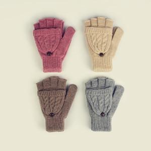 Yün Kadın Kapaklı Eldiven Sıcak Eldiven Ile Yarım Parmaklar Çift Büküm Kapak Parmaklar Moda Kapak Eldivenler